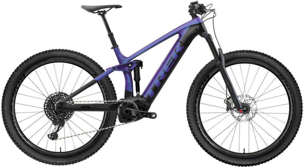 E-Bike Trek Rail 5 625Wh purple flip trek black