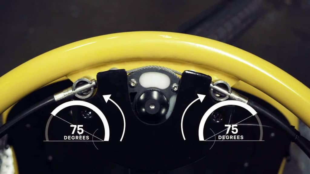 Steering angle of up to 75 degrees possible on the e-bike Bogbi