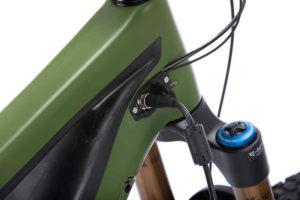 Rubber-protected charging socket on the Pivot e-bike Shuttle for the 2021 season