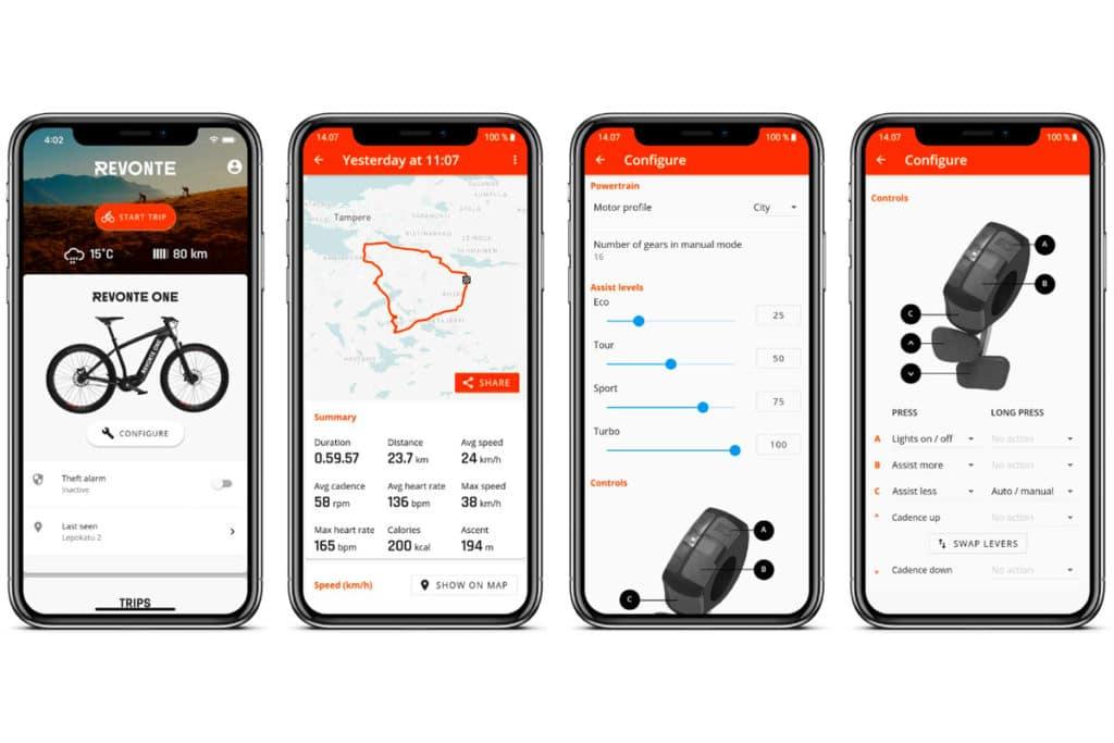 App of the Revonte drive for e-bikes