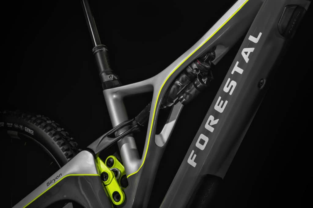 Alpha Box frame element as a distinguishing feature of the Forestal Siryon e-mountain bike
