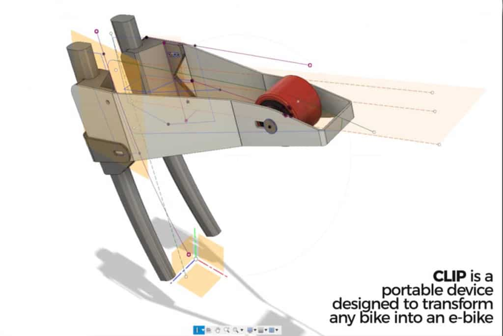 Rendering of the technical design of the Clip retrofit kit for e-bikes