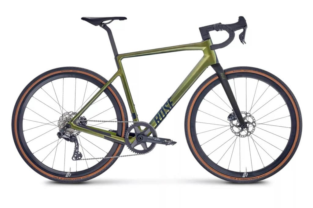 Gravel bike Rose Backroad in the colour Evil Pepper Green with Classified Powershift hub