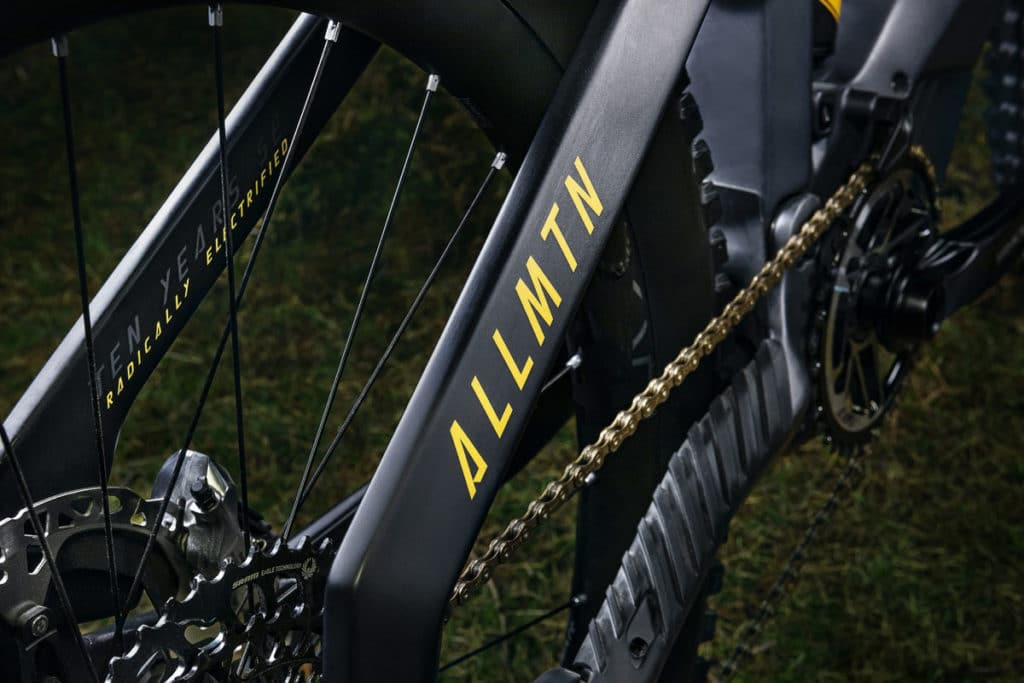 Slogan Ten Years Radically Electrified on the seat stays of the Haibike Allmtn SE