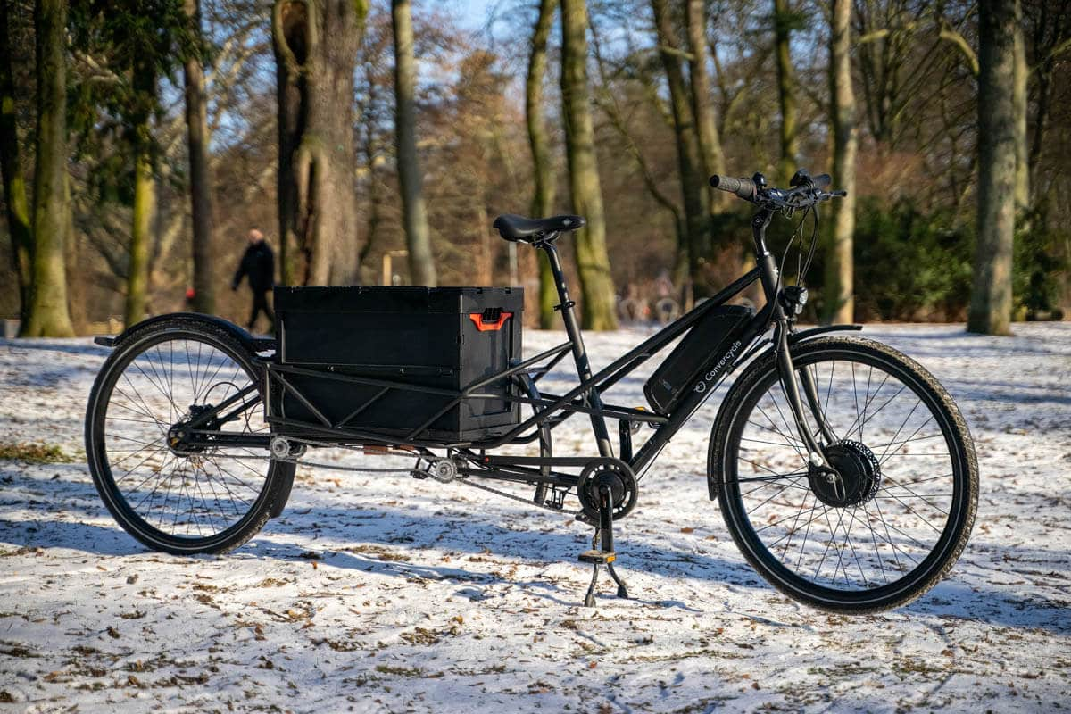 The cargo area of the Convercycle Electric offers space for a Euro standard box